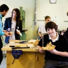 Pupils working on the work bench